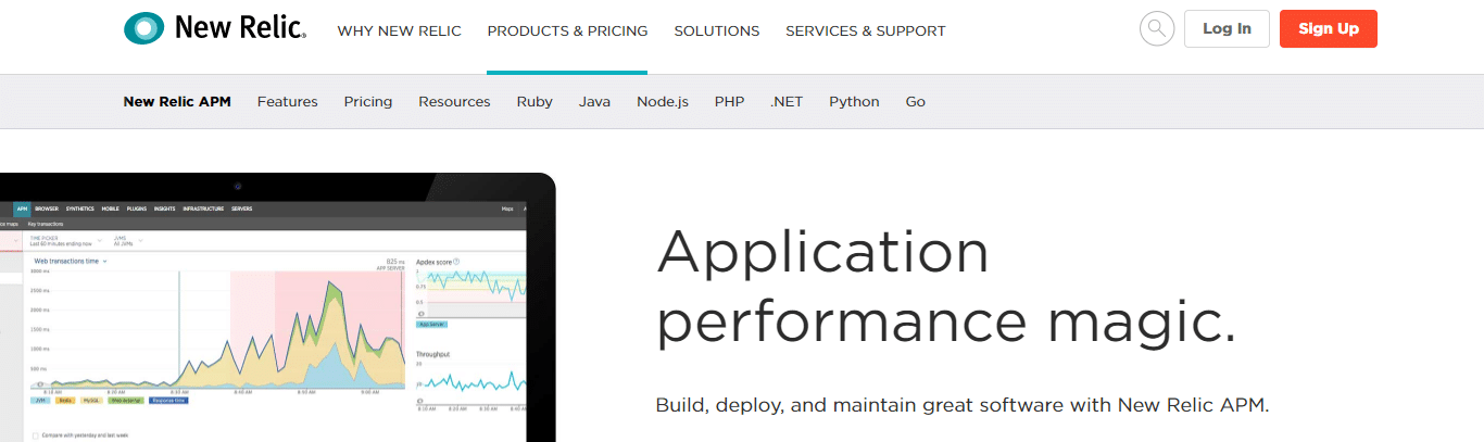 Screenshot of the New Relic APM homepage.