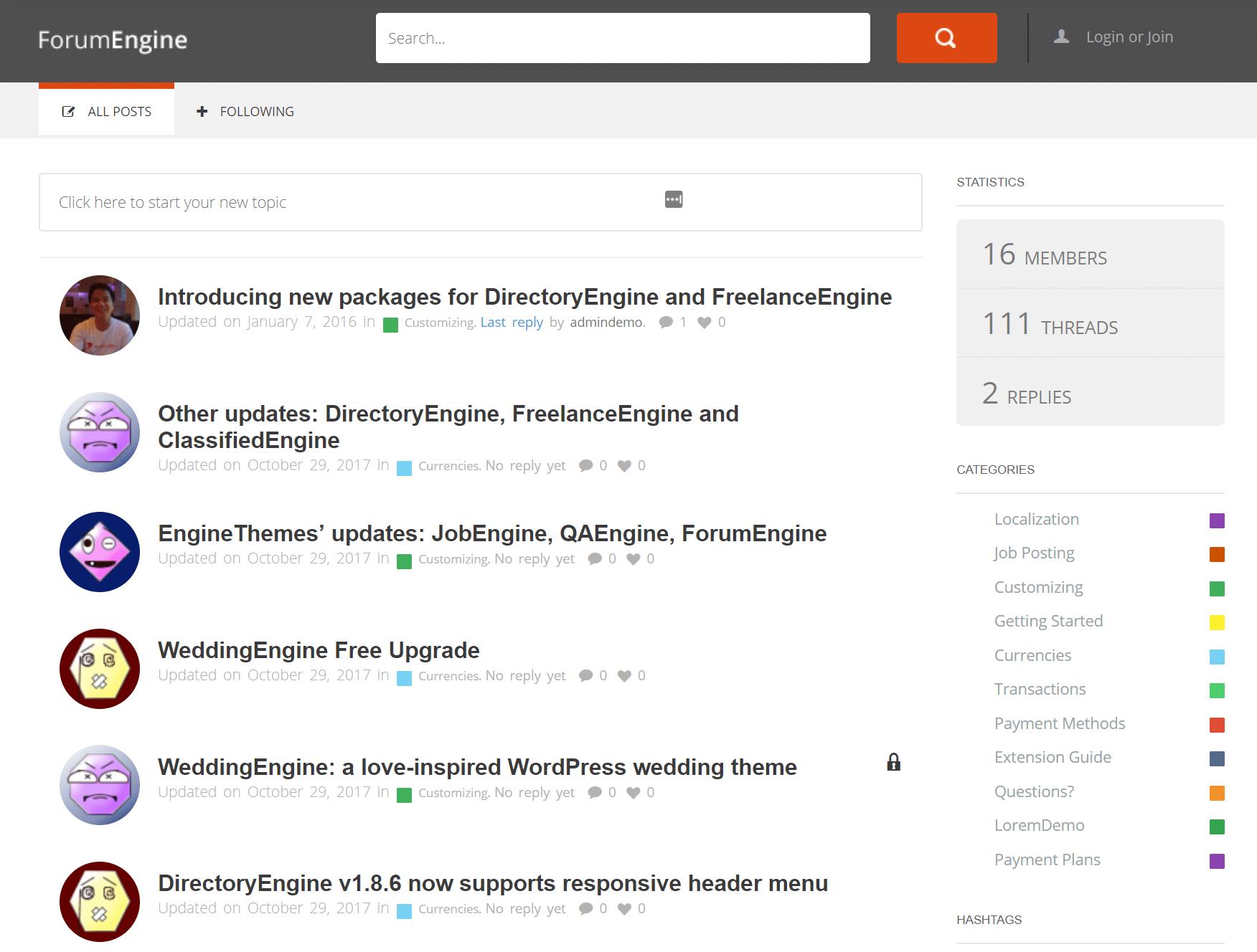 Eksempel på WordPress-forum