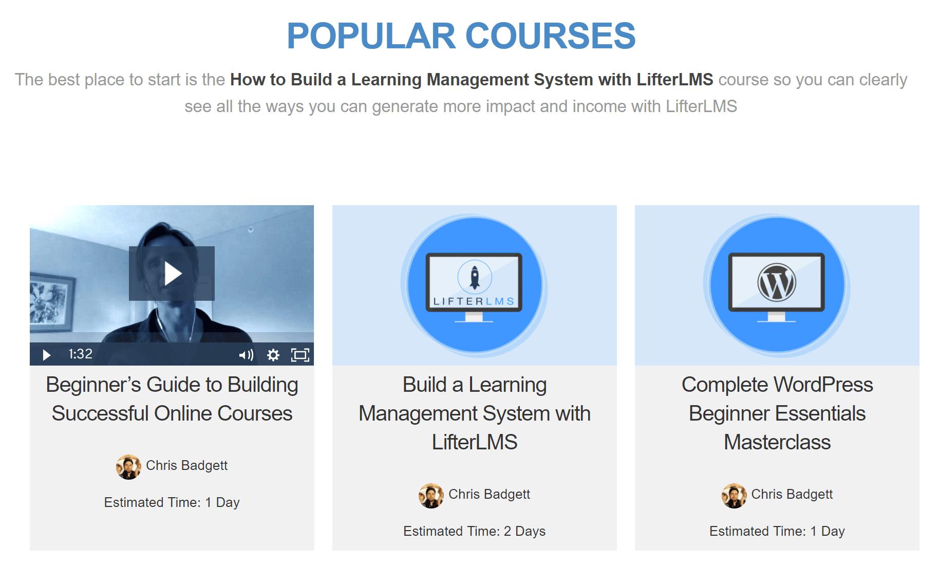 Oprettelse af WordPress-kurser