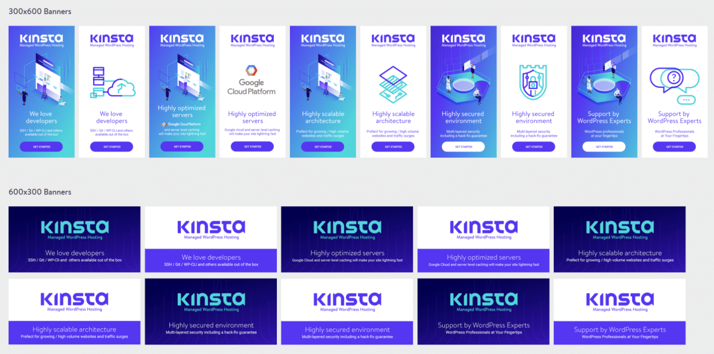 Kinsta affiliate banners