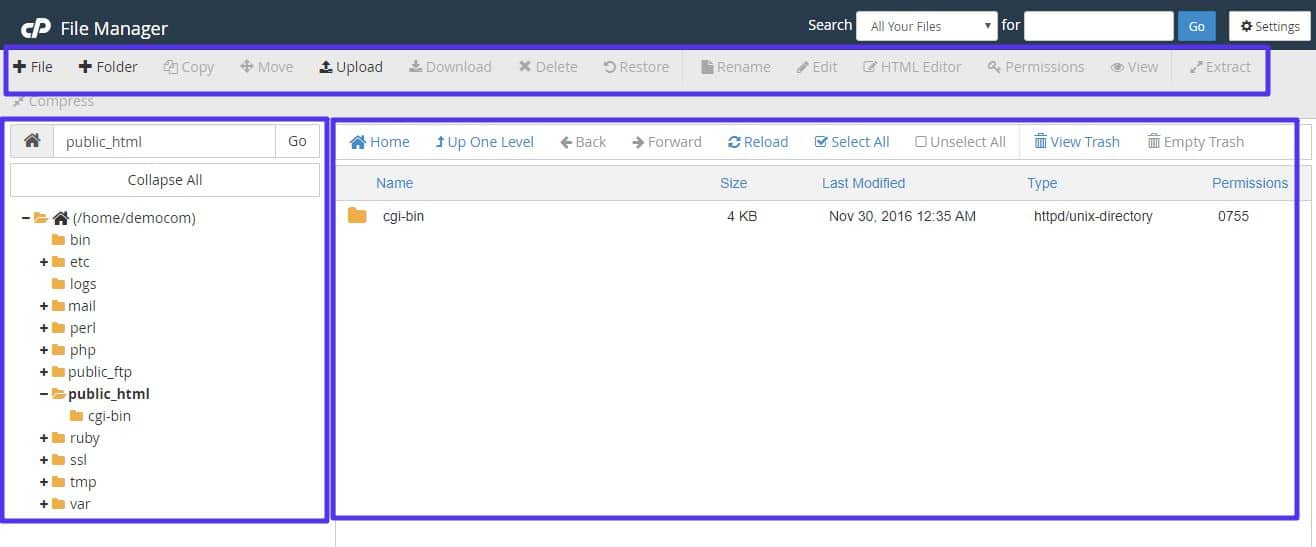 CPanel File Manager-interface