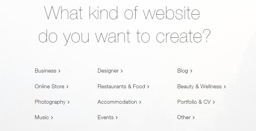 Valg af hvilken type Wix-site der skal oprettes