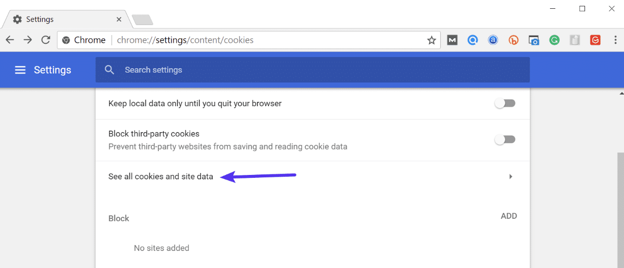 Chrome se alle cookies