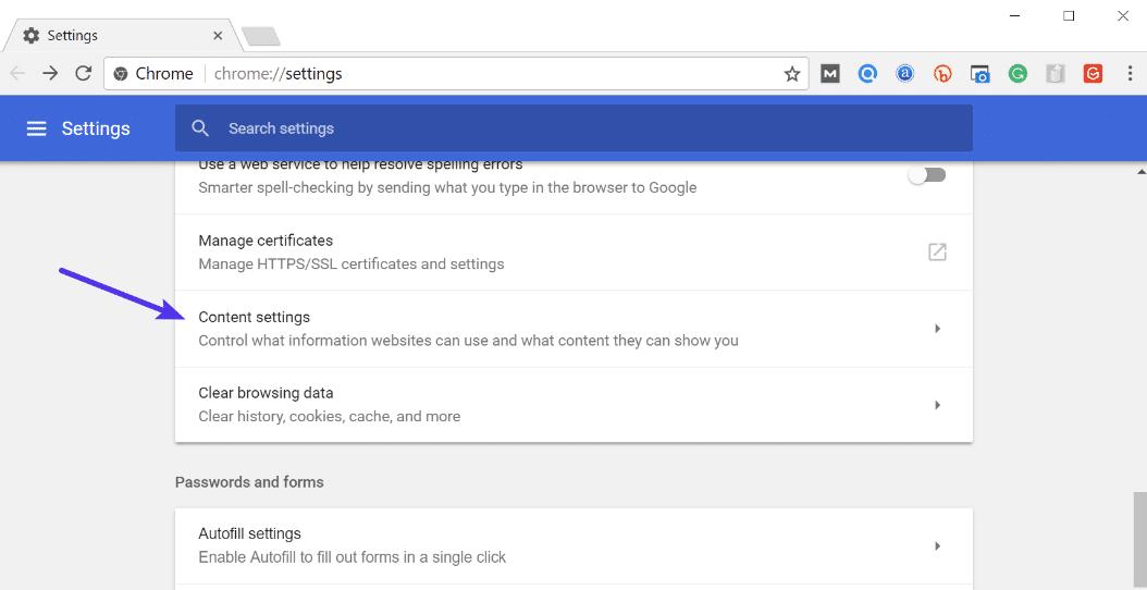 Indstillinger for Chrome-indhold