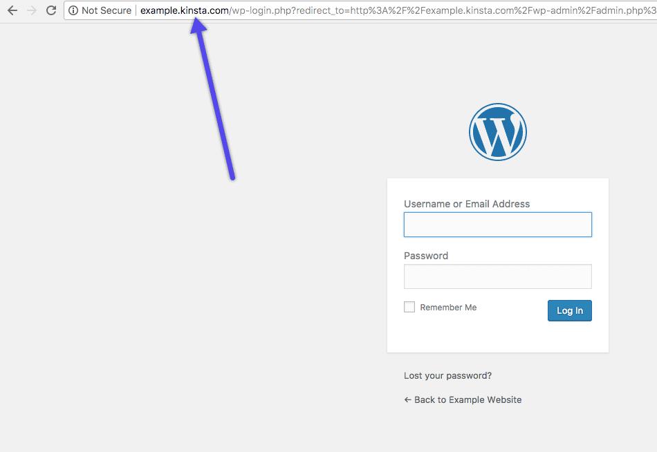 Login til Kinsta midlertidig URL