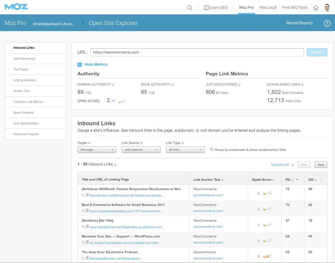 Moz Open Site Explorer værktøj