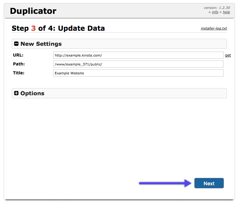 WordPress Duplicator-plugin: opdater data