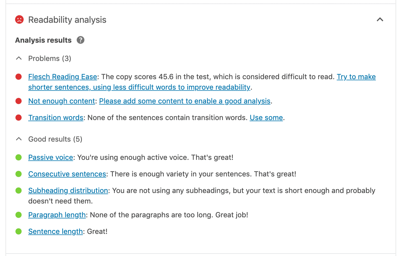 Yoast SEO læsbarhed analyse