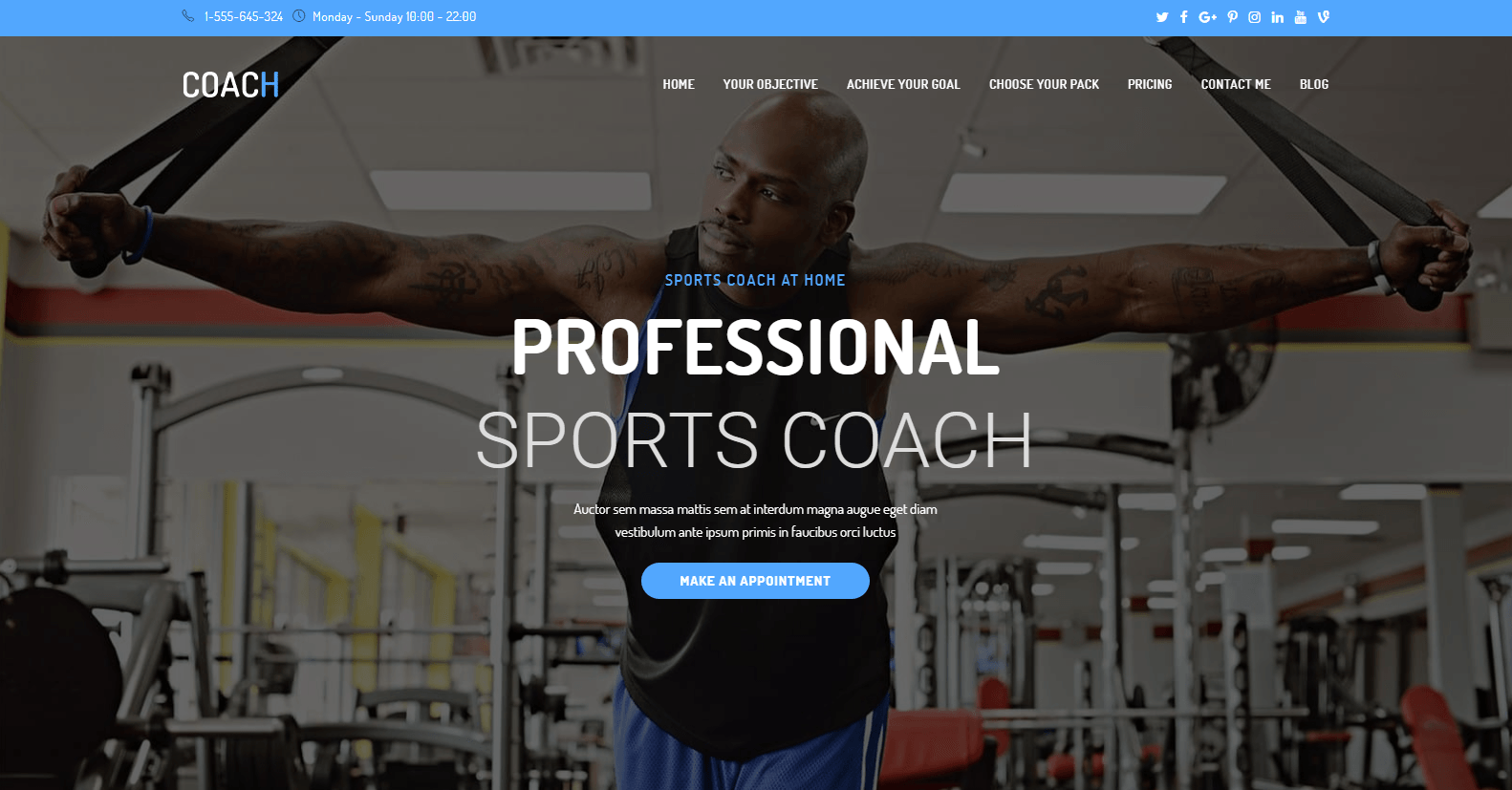 OceanWP sports coach demo