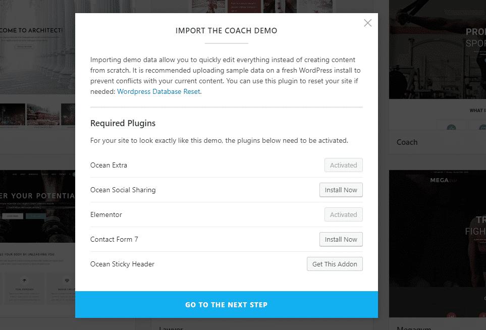 Sådan importeres en OceanWP demo