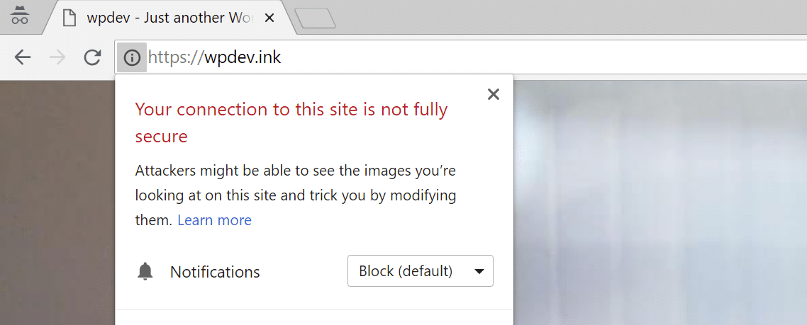 Advarsel om mixed content af Chrome