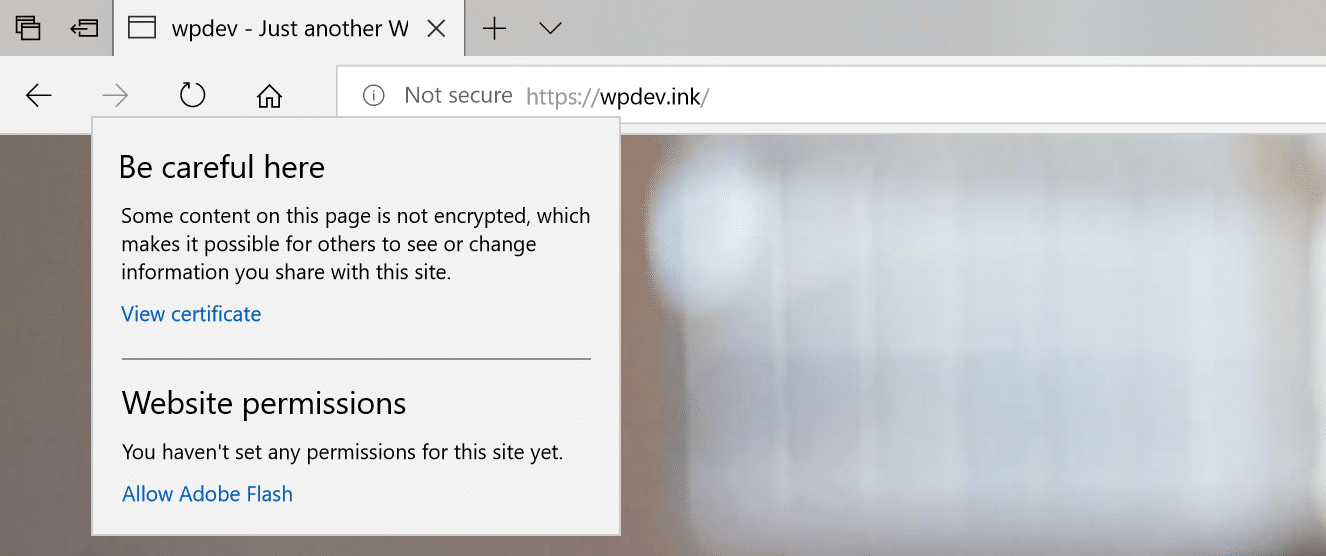 Microsoft Edge advarsel om mixed content