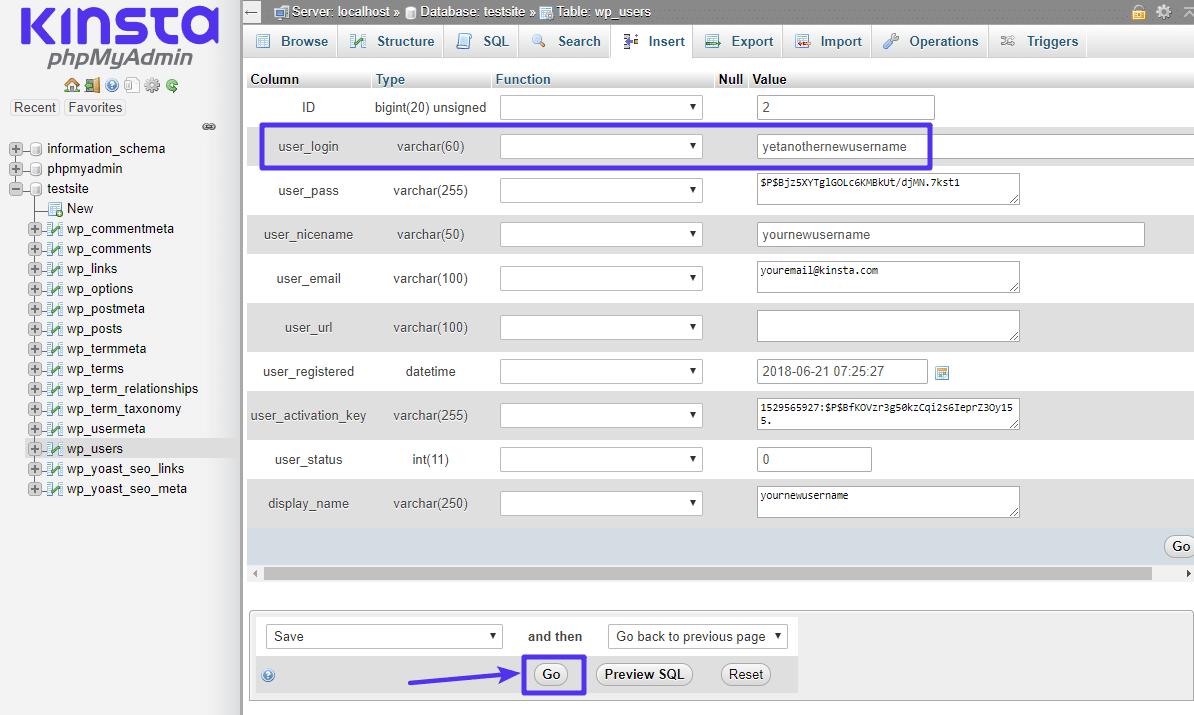 Skift feltet user_login til dit nye brugernavn