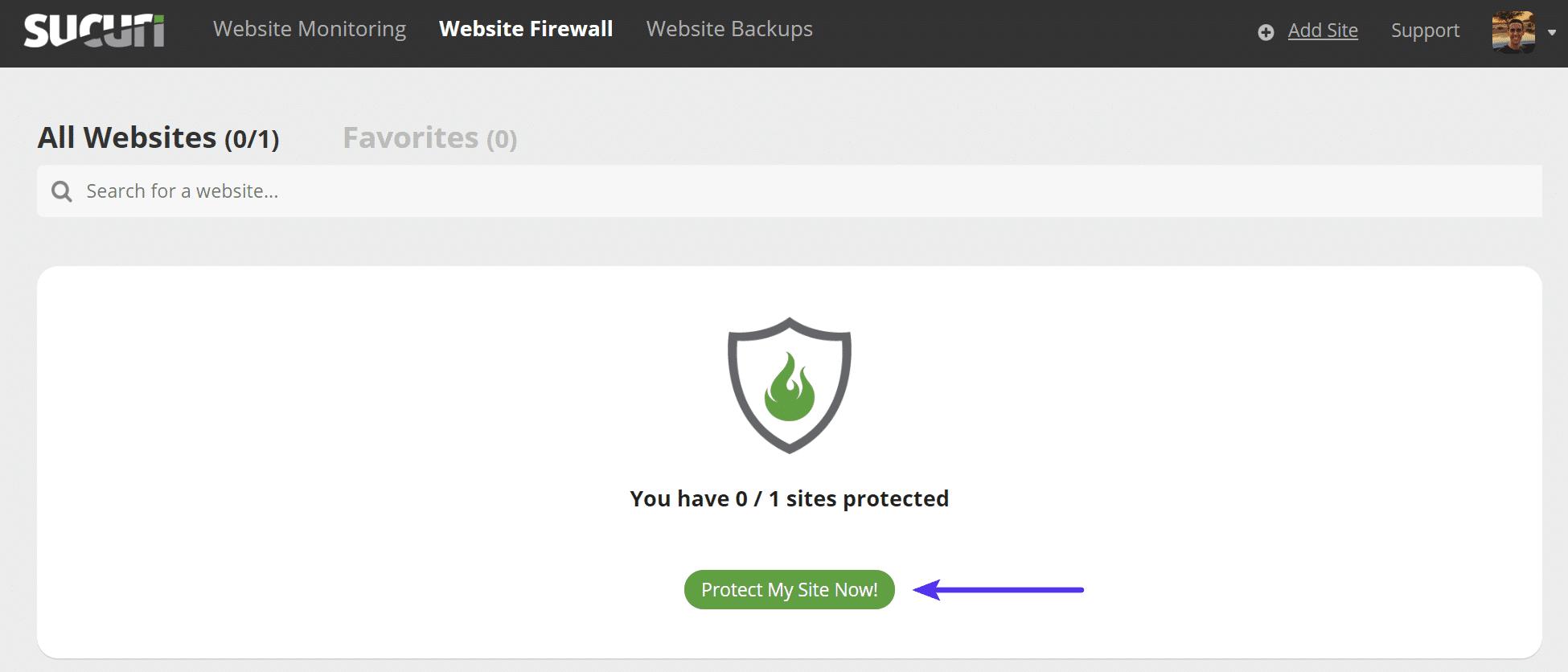 Sucuri beskytter mit websted