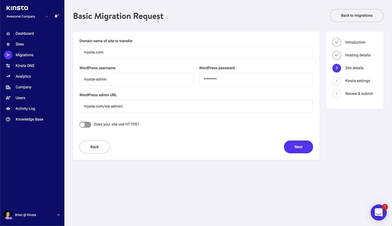 Detaljer om website til migrering.