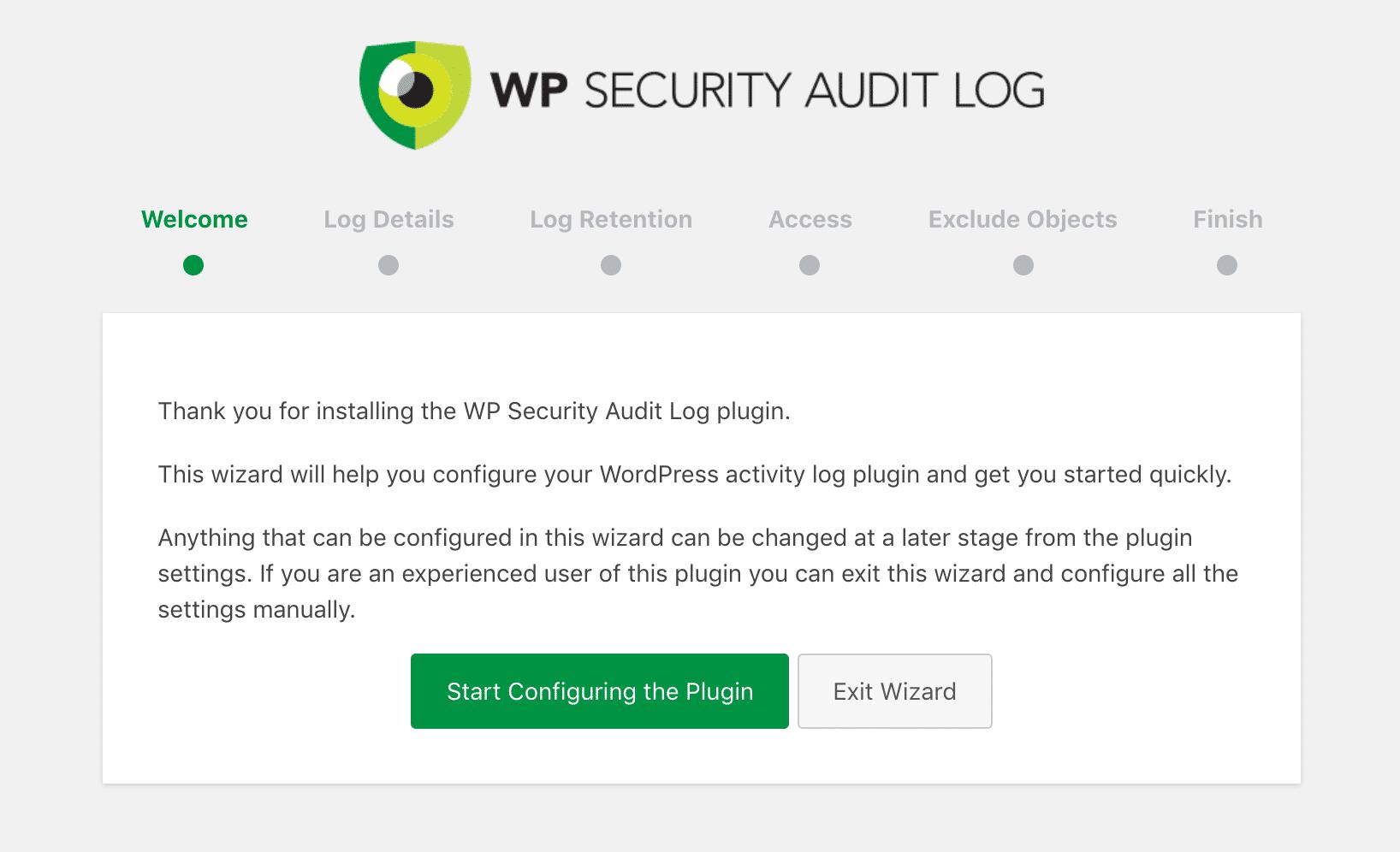 Konfigurer WP Security Audit Log plugin