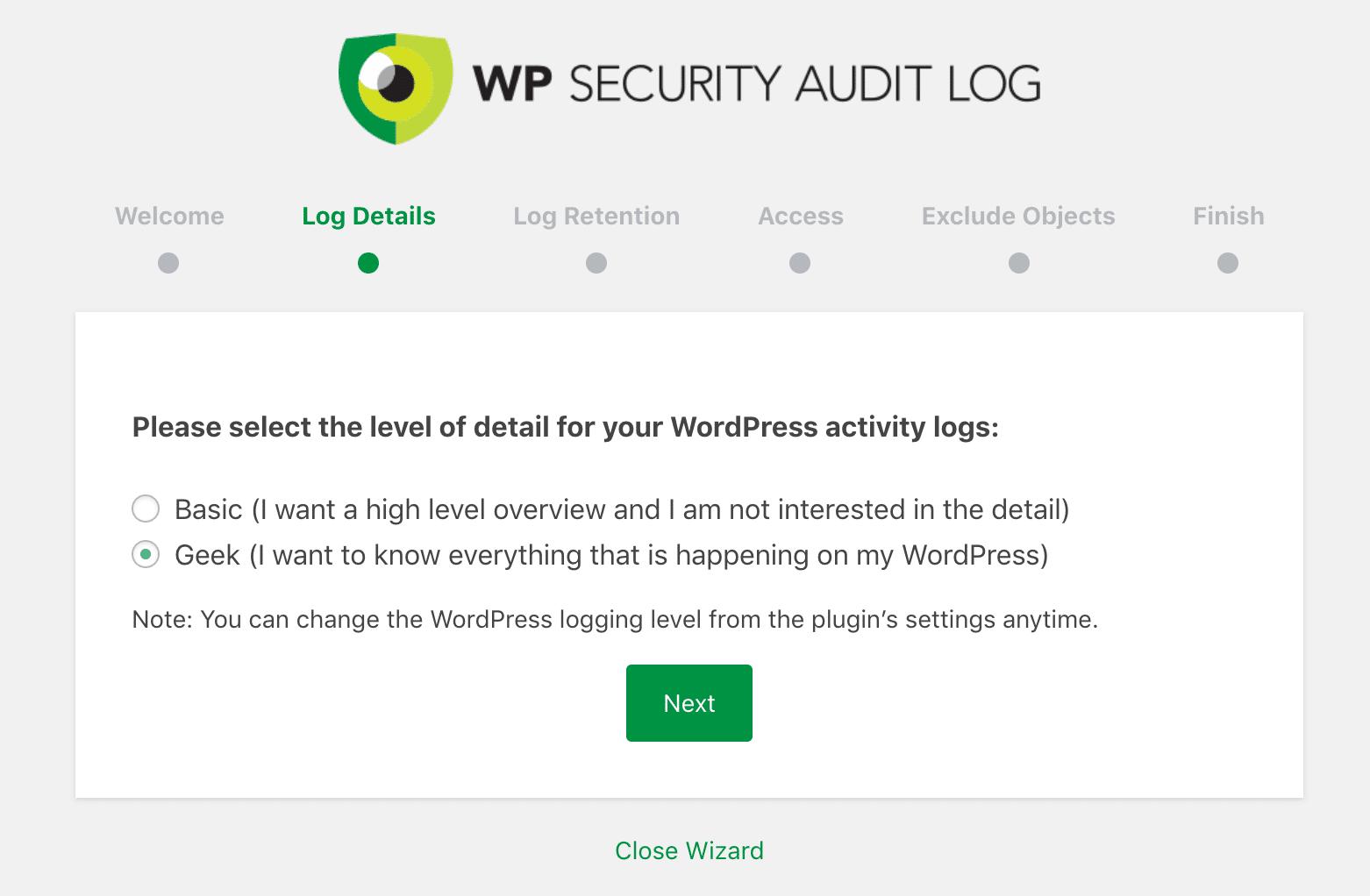 WP Security Audit Log-log indstillinger