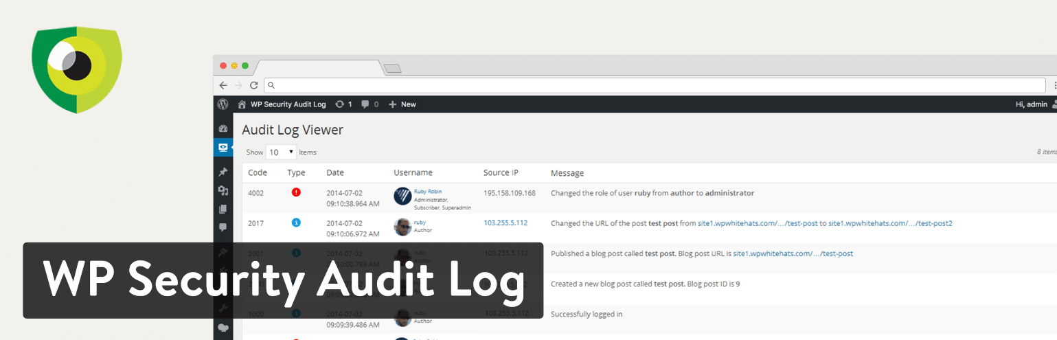 WP Security Audit Log plugin