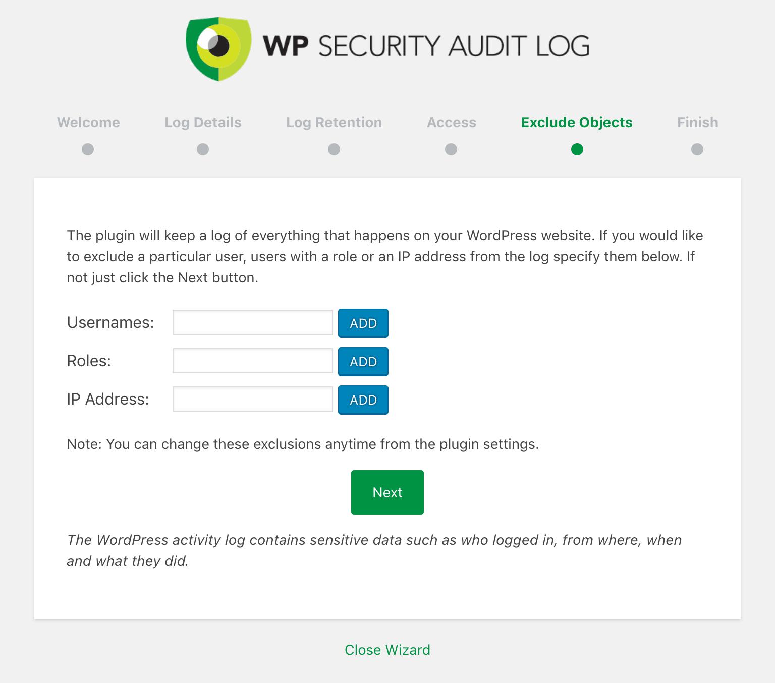 WP Security Audit Log udelukker objekter