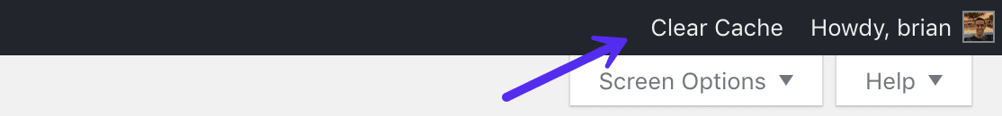 Ryd cache WordPress admin værktøjslinje