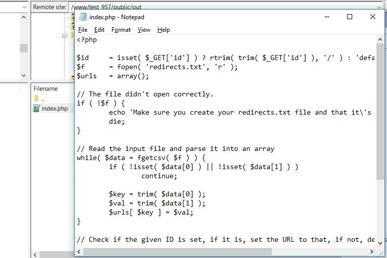 Tilføj filen index.php sammen med koden fra GitHub