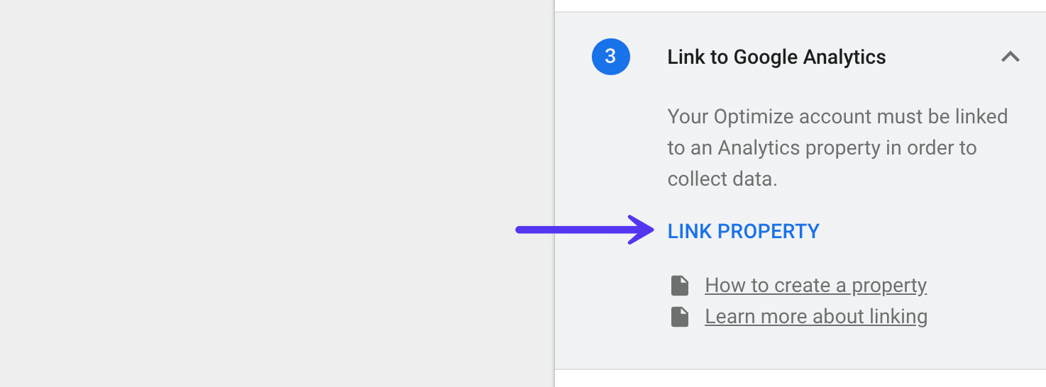 Google Optimize - Link Google Analytics ejendom