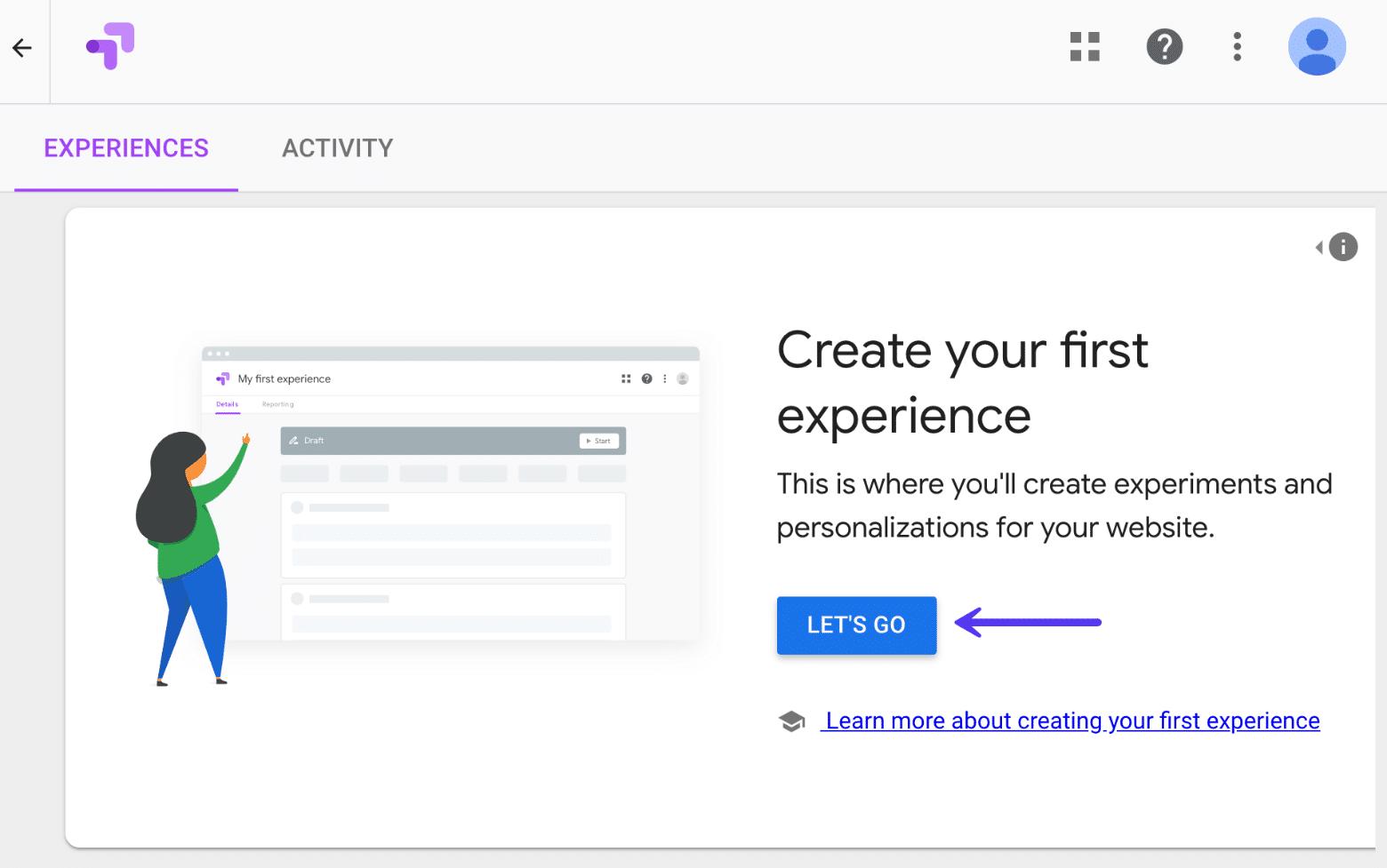 Opret oplevelse A/B-test i Google Optimize