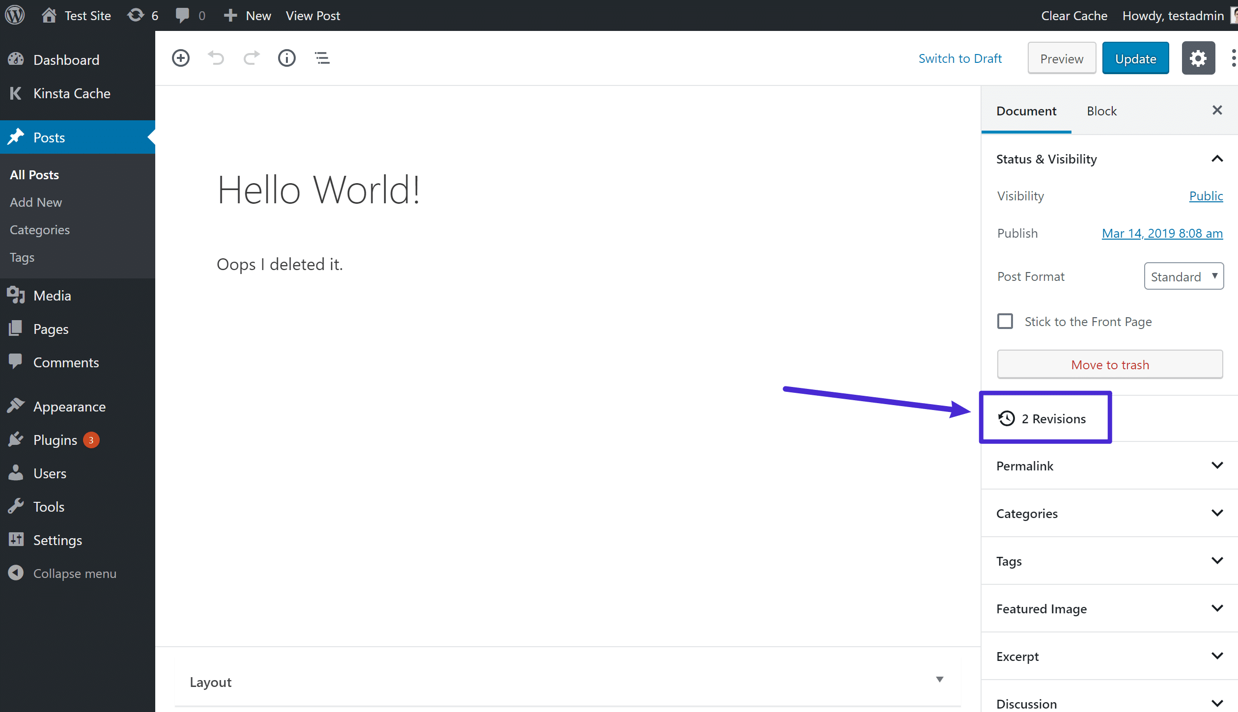 Sådan får du adgang til revisioner i blokeditoren
