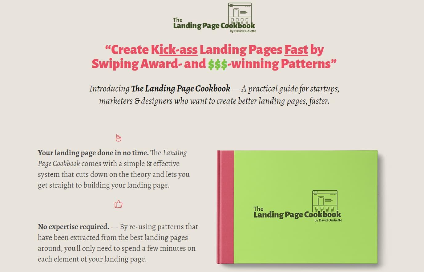 Kogebogen e-bog med landingssiden