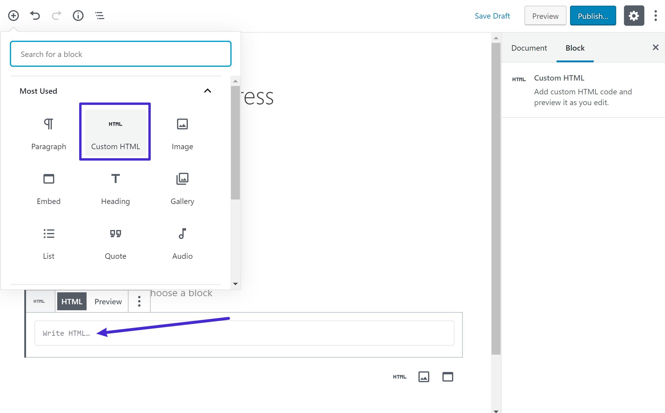 Gutenberg Custom HTML blok
