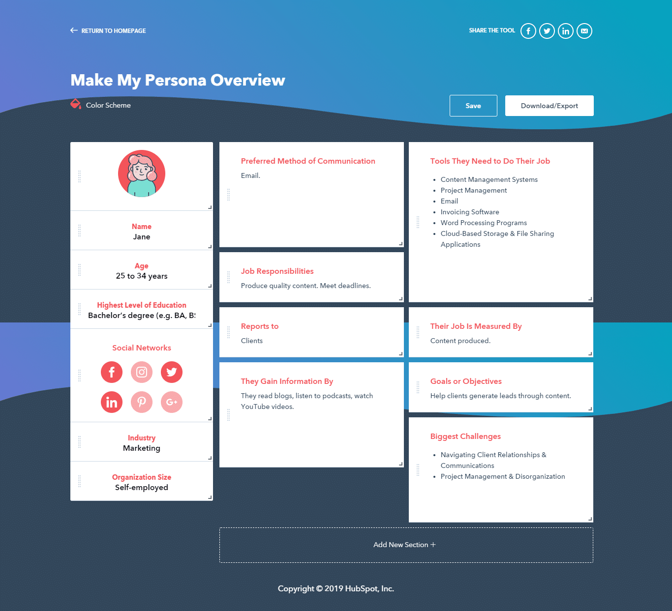 Customer Persona skabelon