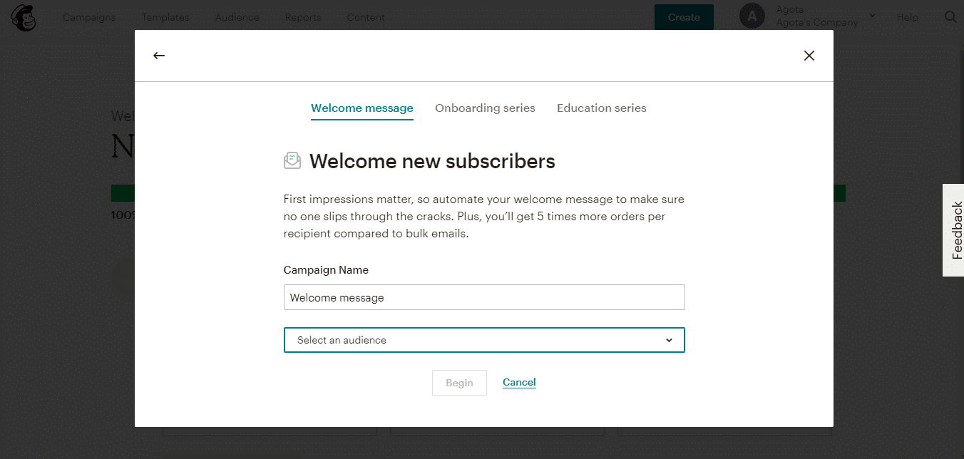 Mailchimp autosvar email