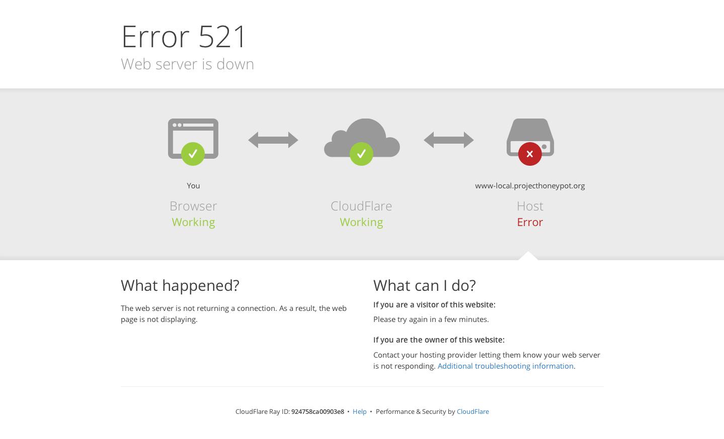 Et eksempel på Error 521-meddelelsen
