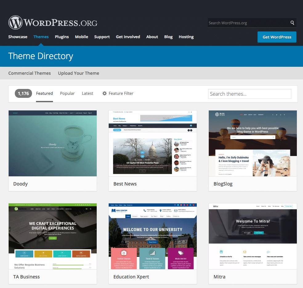 Mest populære WordPress temaer
