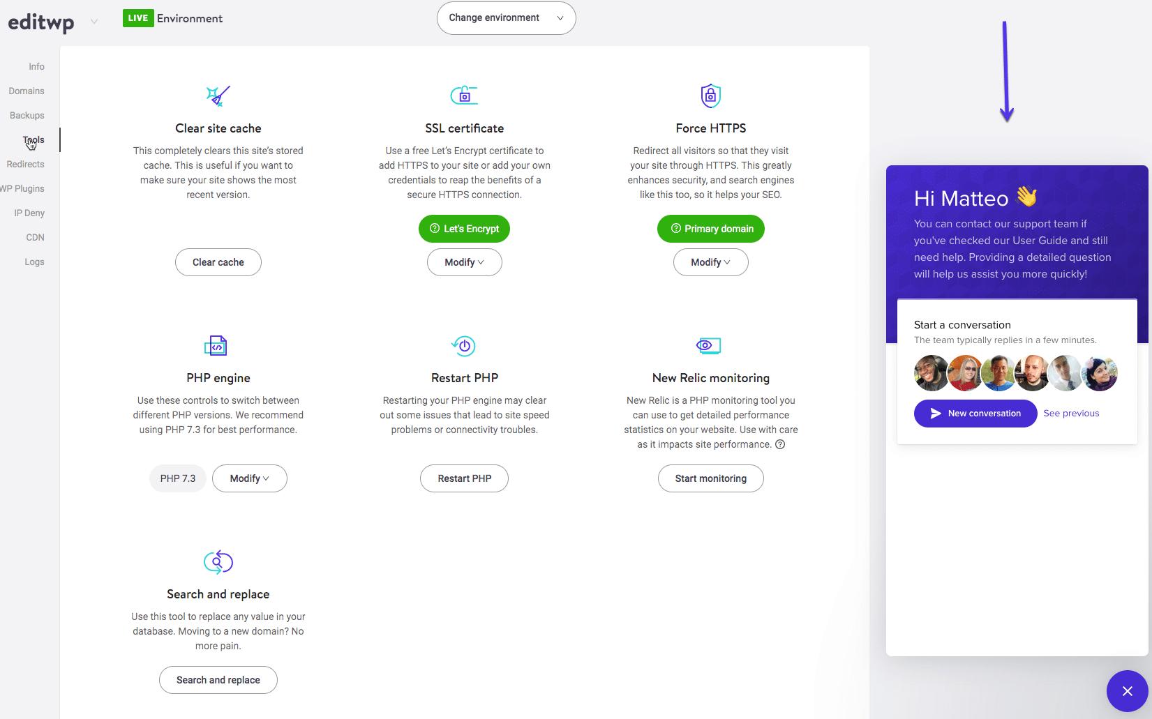 Sådan får du hjælp via MyKinsta Dashboard