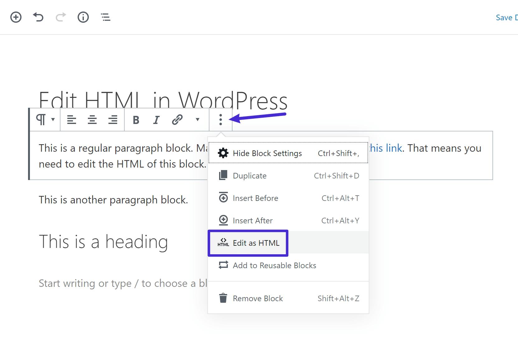 Sådan redigeres en enkelt blok som HTML
