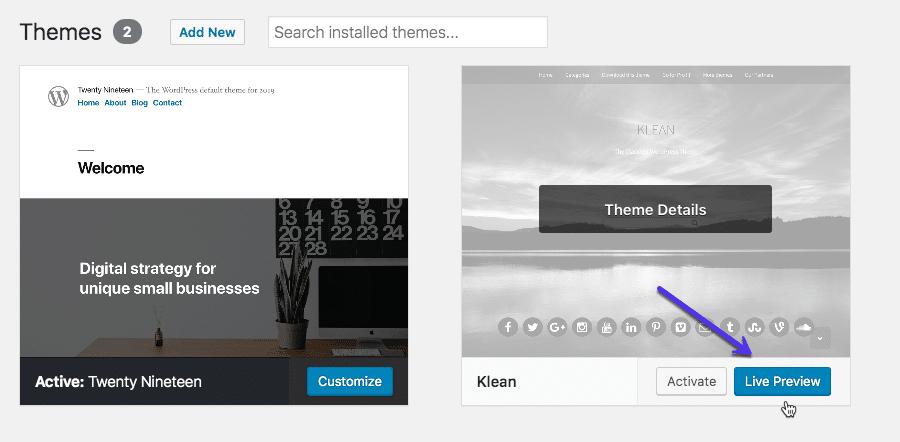 Sådan ser du forhåndsvisning et tema i WordPress