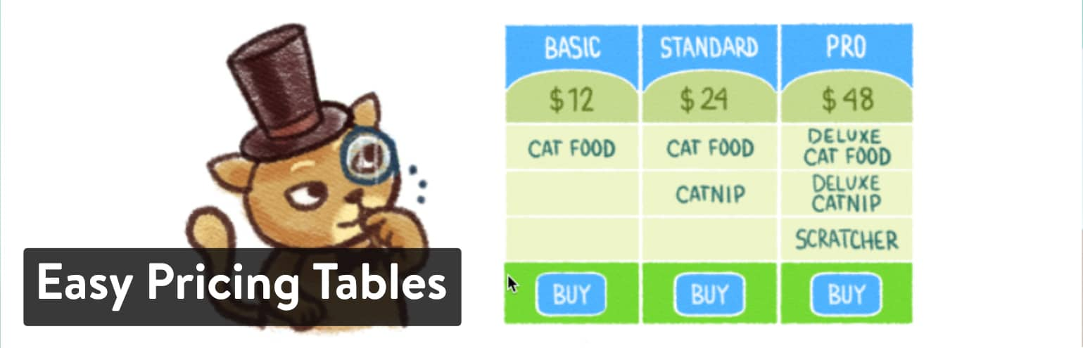 WordPress Pristabel plugin – Easy Pricing Tables