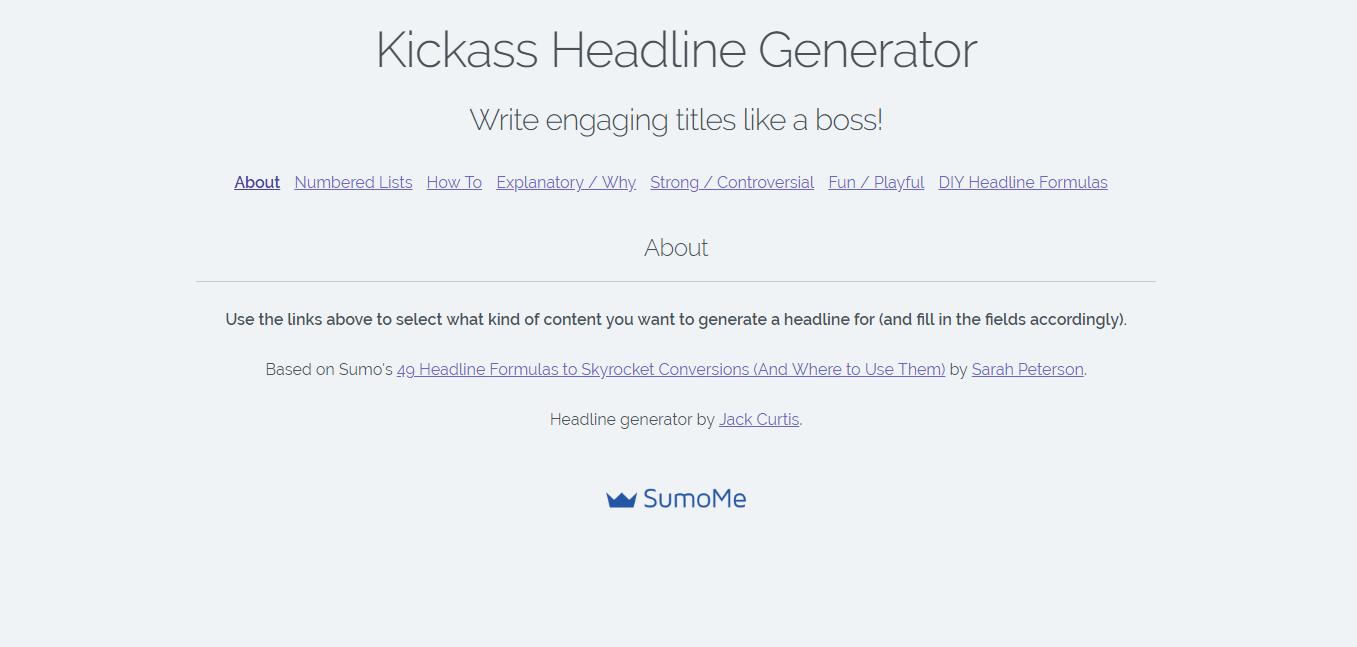 Best headline analyzer tools: Sumo Kickass Headline Generator
