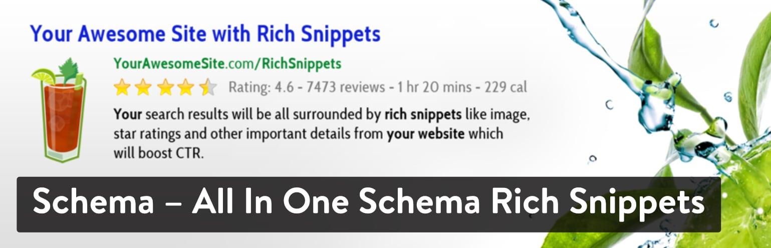 Bedste WordPress anmeldelse-plugins: Schema - Alt i ét skema rige uddrag