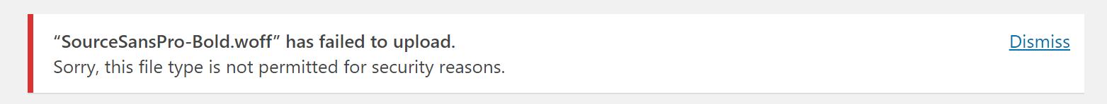 """Meddelelsen """"Beklager, denne filtype er ikke tilladt af sikkerhedsmæssige årsager"""""""