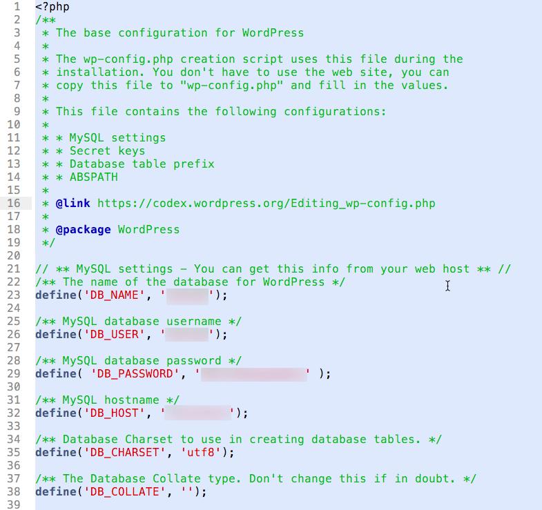 Eksempel på wp-config.php-fil