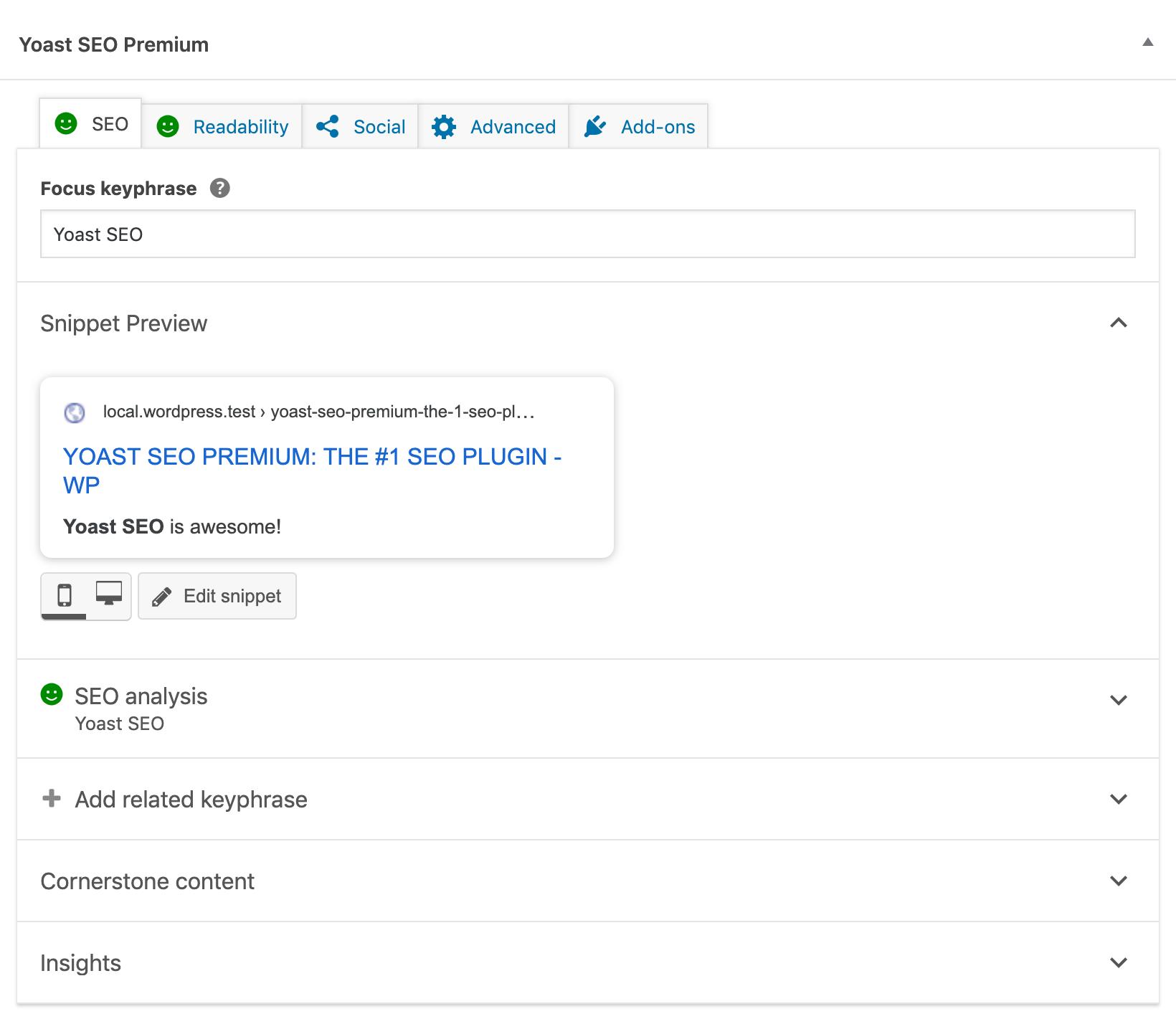 Eksempel på Yoast SEO-plugin