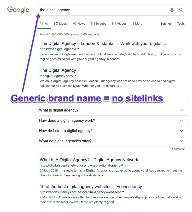 Generiske brandnavne er ikke gode til at få Google sitelinks