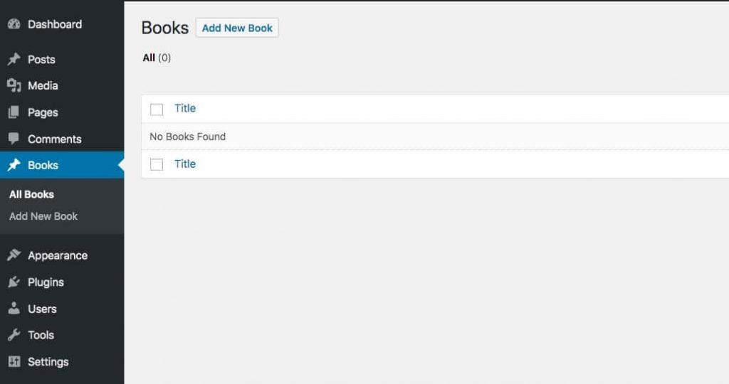 """Indlægstypen """"bøger"""" i admin-skærmbilledet"""