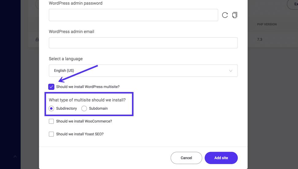Aktivering af Multisite, når du installerer WordPress i MyKinsta