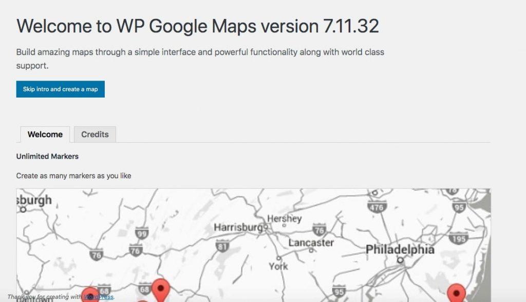 Et map oprettet af WP Google Maps-plugin