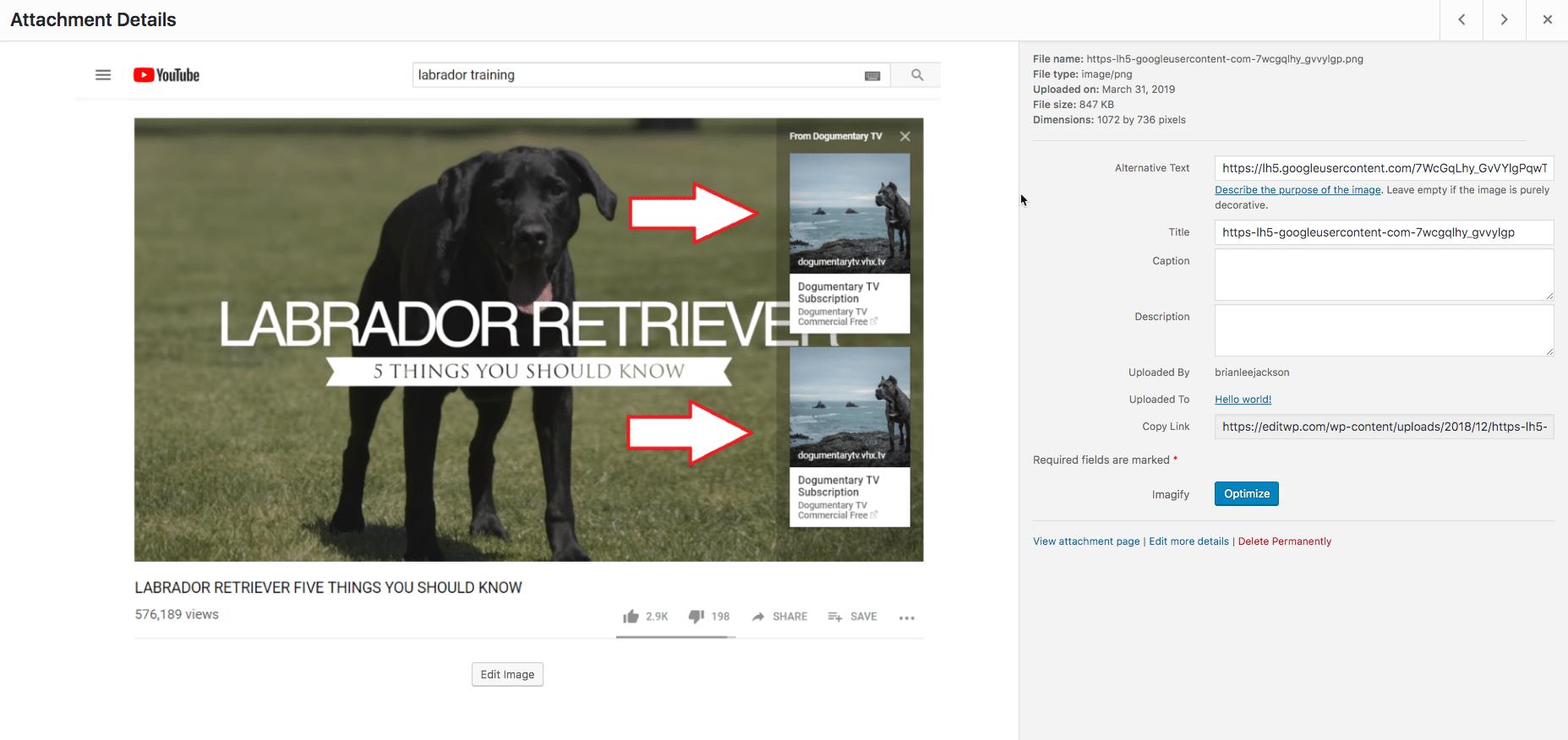 Redigerings-skærmbilledet for vedhæftet fil i WordPress