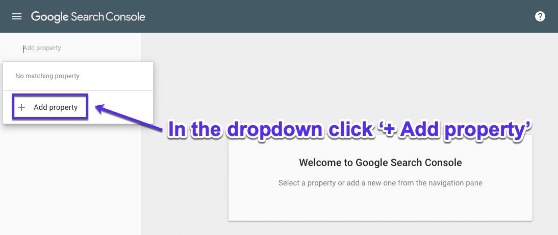 Tilføj ejendom i Google Search Console