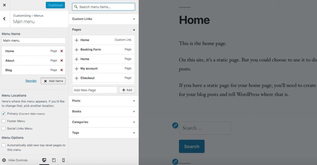 Tilføjelse af et menupunkt i WordPress customizer